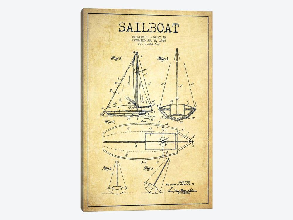 Sailboat Vintage Patent Blueprint by Aged Pixel 1-piece Canvas Artwork