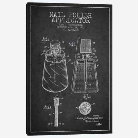 Nail Polish Applicator Charcoal Patent Blueprint Canvas Print #ADP263} by Aged Pixel Canvas Art Print