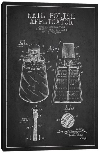 Nail Polish Applicator Charcoal Patent Blueprint Canvas Art Print