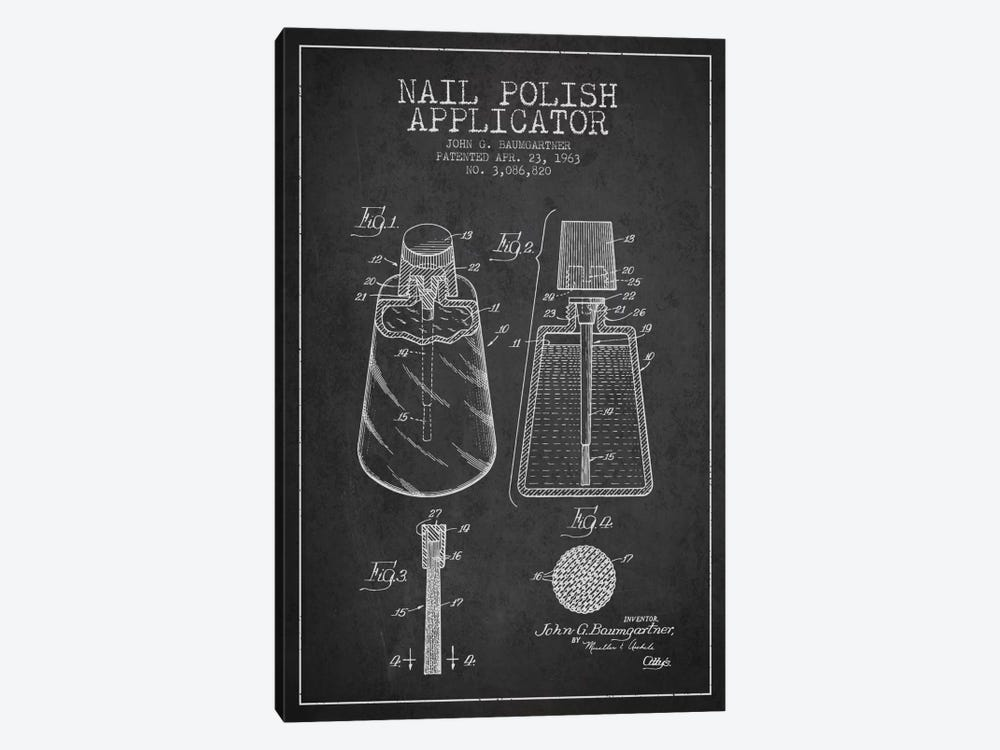 Nail Polish Applicator Charcoal Patent Blueprint by Aged Pixel 1-piece Art Print