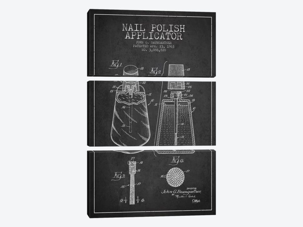 Nail Polish Applicator Charcoal Patent Blueprint by Aged Pixel 3-piece Canvas Art Print