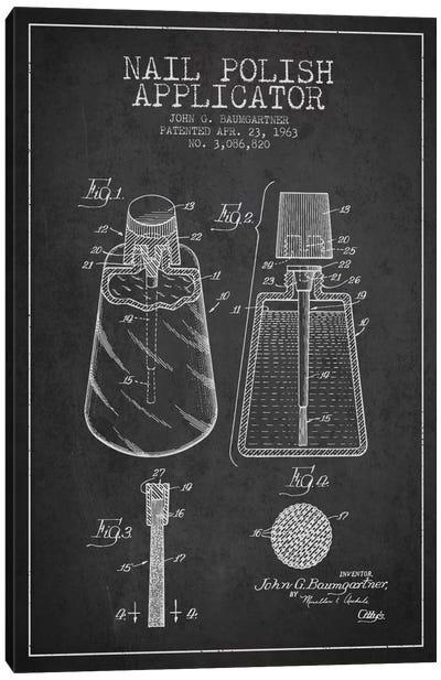 Nail Polish Applicator Charcoal Patent Blueprint Canvas Art Print