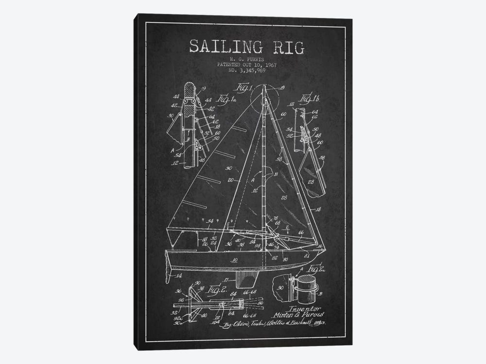 Sailboat Charcoal Patent Blueprint by Aged Pixel 1-piece Canvas Artwork