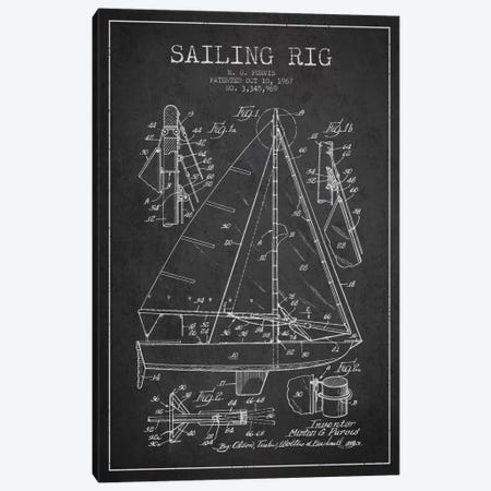 Sailboat Charcoal Patent Blueprint Canvas Print #ADP2640} by Aged Pixel Canvas Wall Art