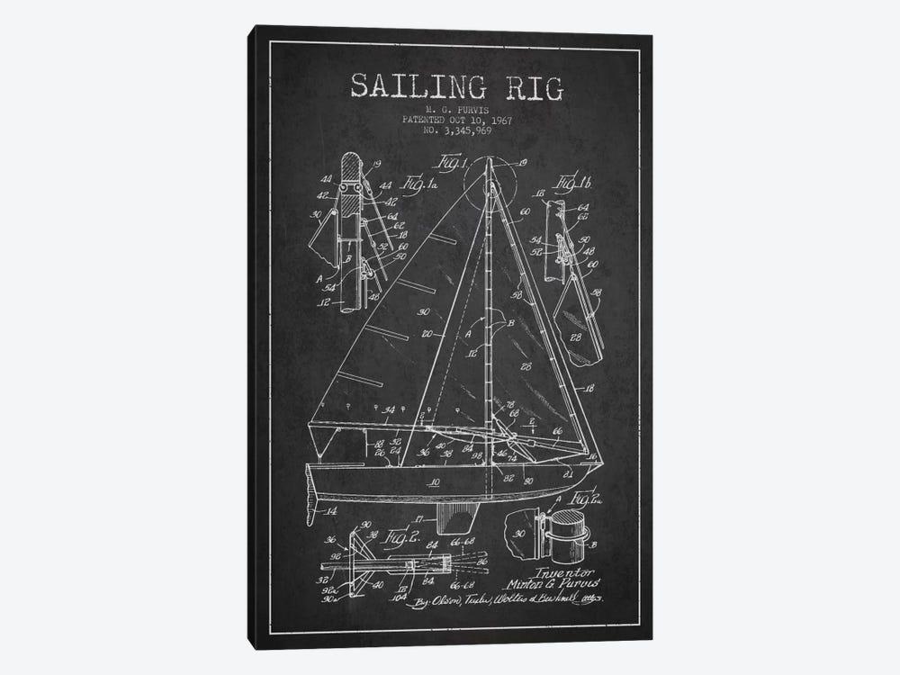 Sailboat Charcoal Patent Blueprint by Aged Pixel 1-piece Canvas Artwork
