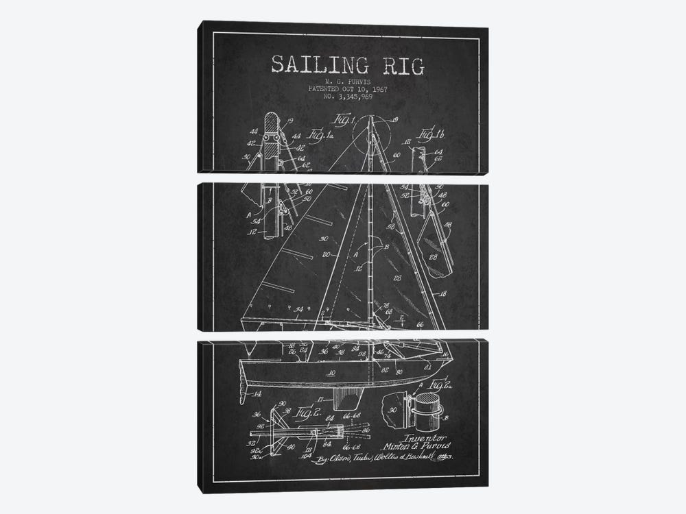 Sailboat Charcoal Patent Blueprint by Aged Pixel 3-piece Canvas Wall Art