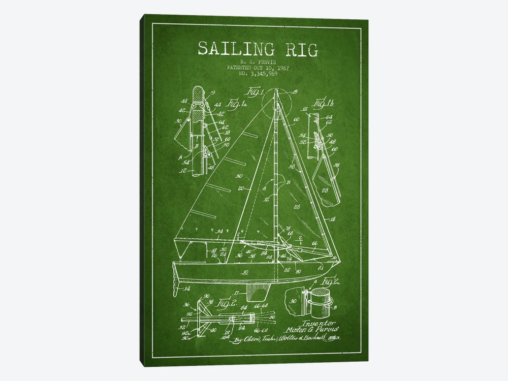 Sailboat Green Patent Blueprint by Aged Pixel 1-piece Canvas Art Print
