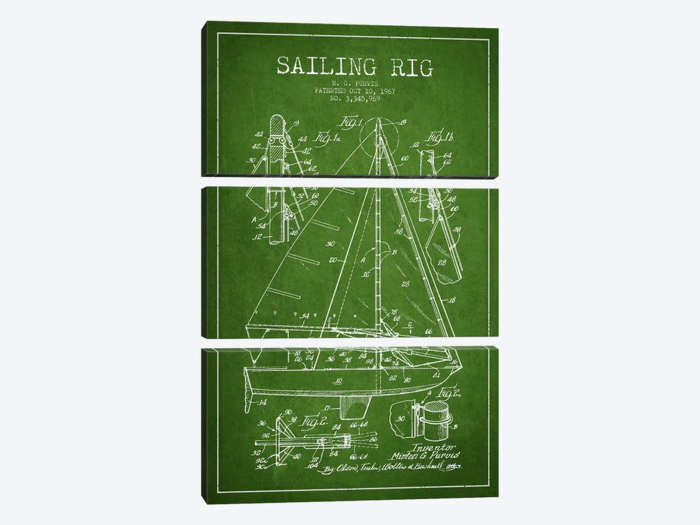Sailboat Green Patent Blueprint by Aged Pixel 3-piece Canvas Print
