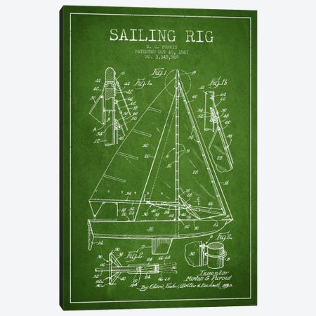 Sailboat Green Patent Blueprint Canvas Print #ADP2641} by Aged Pixel Canvas Artwork