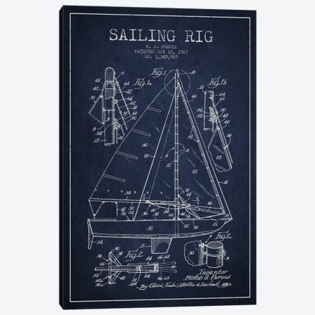 Sailboat Navy Blue Patent Blueprint Canvas Print #ADP2642} by Aged Pixel Canvas Artwork