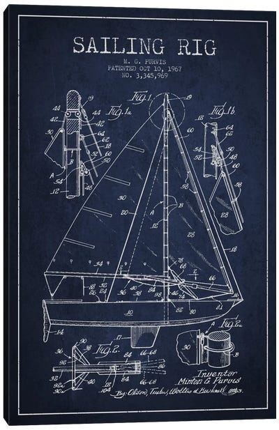 Sailboat Navy Blue Patent Blueprint Canvas Art Print