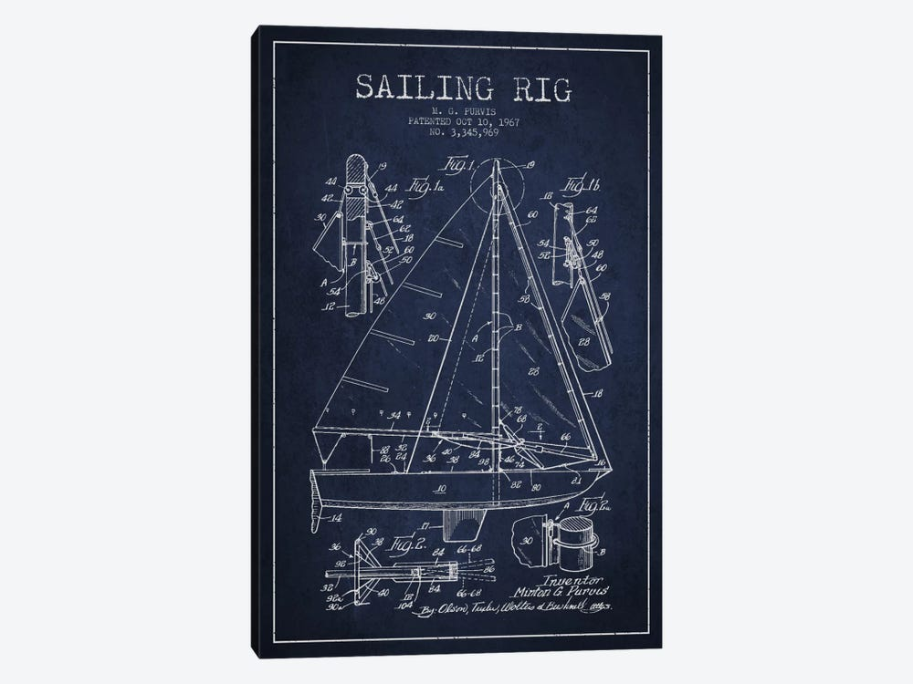Sailboat Navy Blue Patent Blueprint by Aged Pixel 1-piece Canvas Art