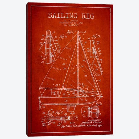 Sailboat Red Patent Blueprint Canvas Print #ADP2643} by Aged Pixel Canvas Wall Art