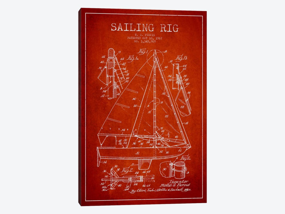 Sailboat Red Patent Blueprint 1-piece Canvas Print