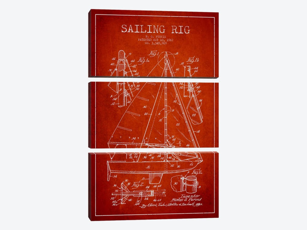 Sailboat Red Patent Blueprint by Aged Pixel 3-piece Canvas Art Print