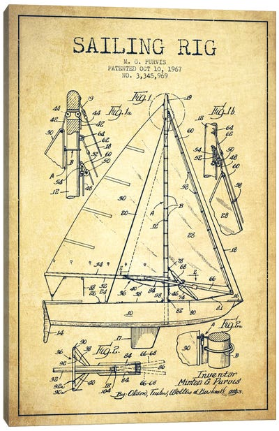 Sailboat Vintage Patent Blueprint Canvas Print #ADP2644