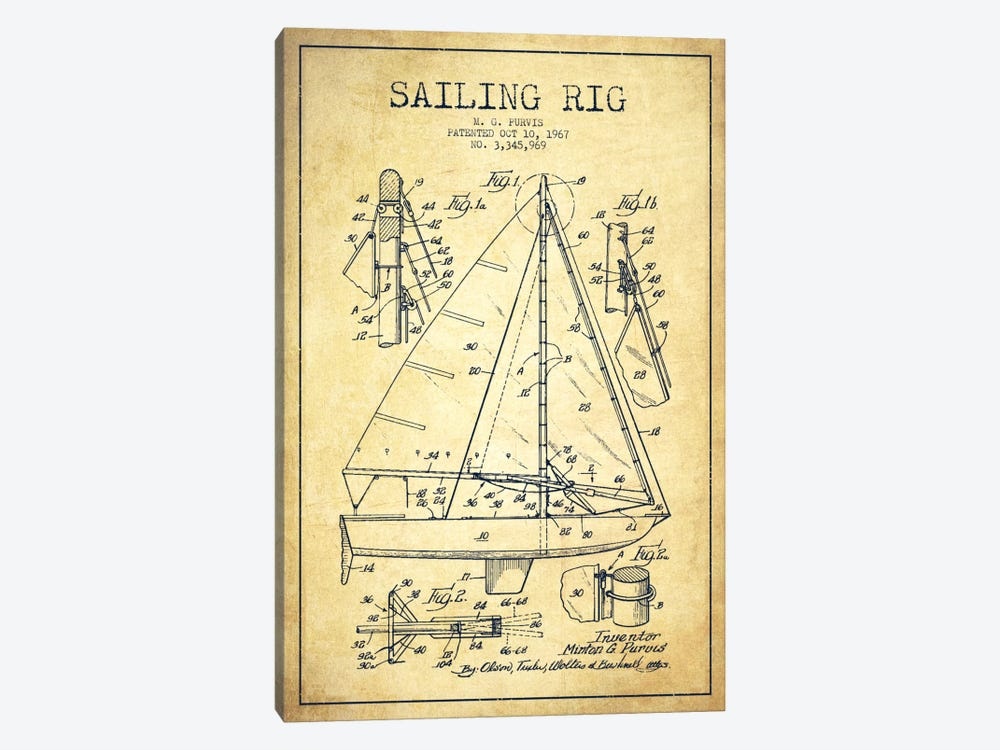 Sailboat Vintage Patent Blueprint by Aged Pixel 1-piece Canvas Wall Art