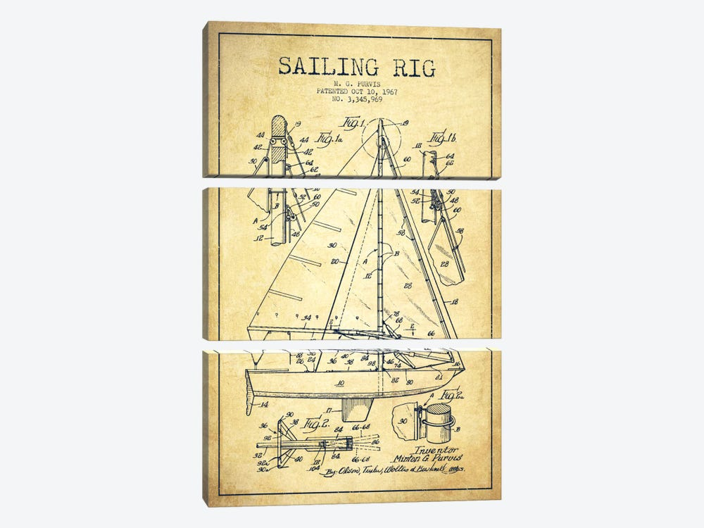 Sailboat Vintage Patent Blueprint by Aged Pixel 3-piece Canvas Artwork
