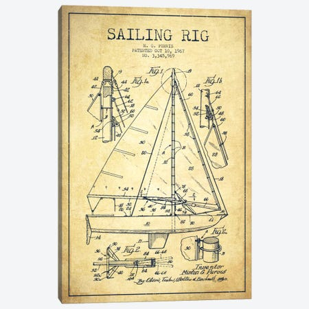 Sailboat Vintage Patent Blueprint Canvas Print #ADP2644} by Aged Pixel Art Print