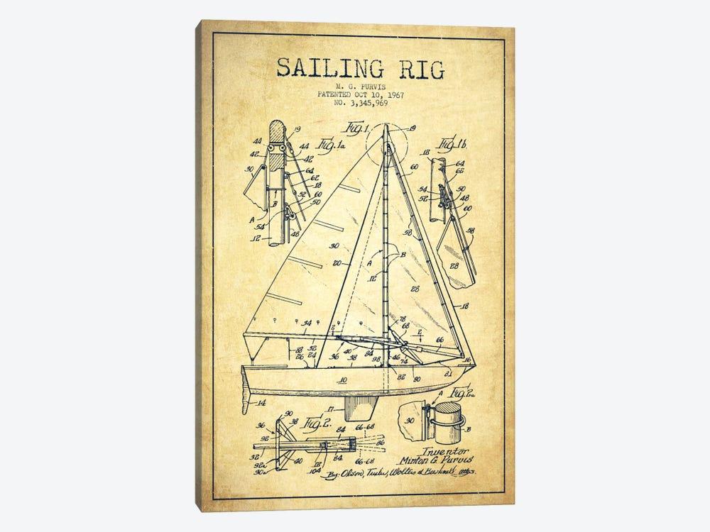 Sailboat Vintage Patent Blueprint by Aged Pixel 1-piece Canvas Wall Art