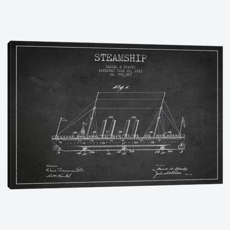 Steamship Charcoal Patent Blueprint Canvas Print #ADP2645} by Aged Pixel Art Print