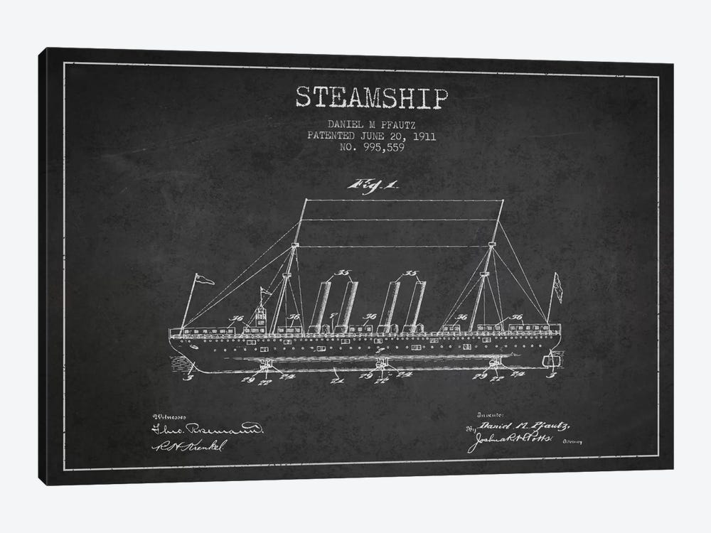 Steamship Charcoal Patent Blueprint by Aged Pixel 1-piece Canvas Art Print