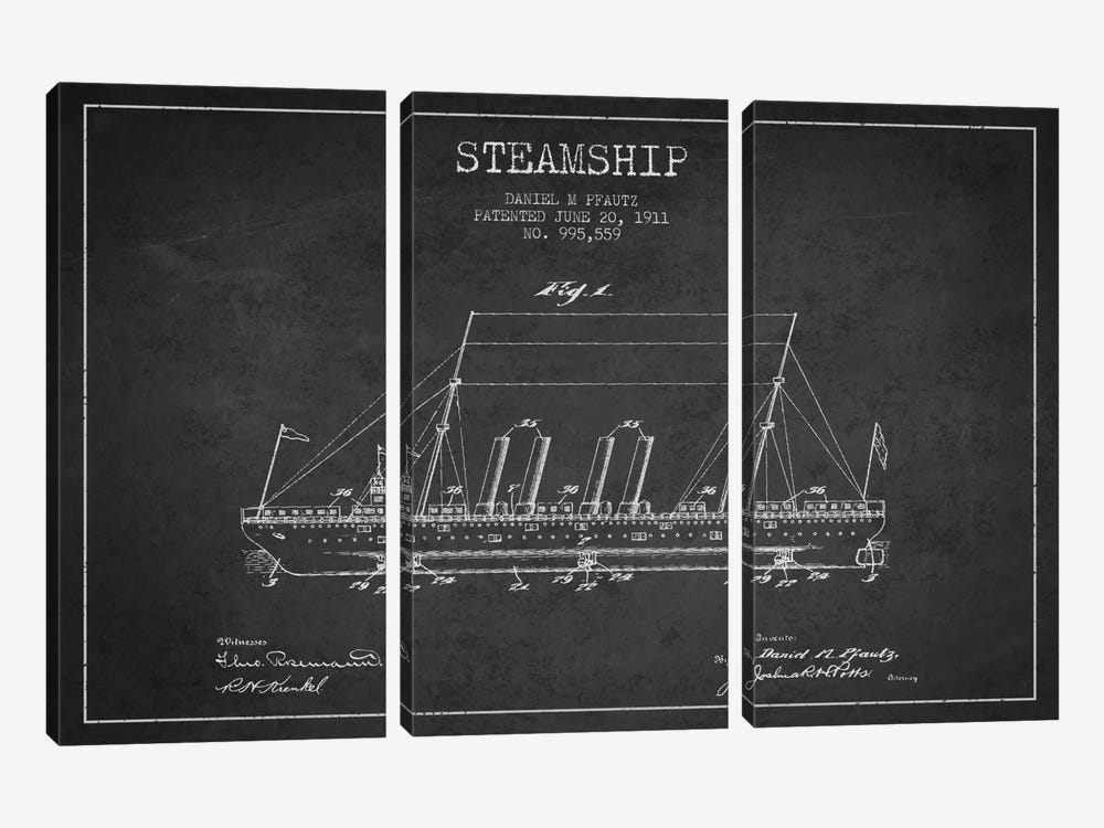 Steamship Charcoal Patent Blueprint by Aged Pixel 3-piece Canvas Print