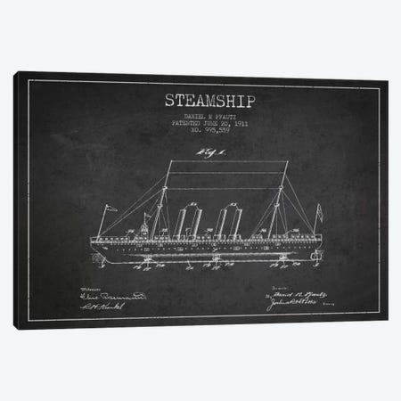Steamship Charcoal Patent Blueprint Canvas Print #ADP2645} by Aged Pixel Art Print