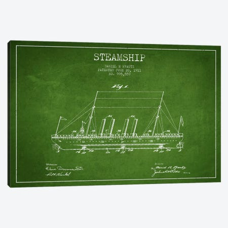Steamship Green Patent Blueprint Canvas Print #ADP2646} by Aged Pixel Art Print