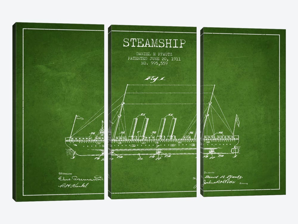 Steamship Green Patent Blueprint by Aged Pixel 3-piece Canvas Art