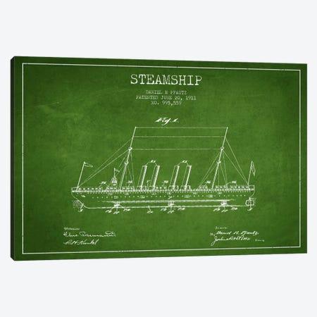 Steamship Green Patent Blueprint Canvas Print #ADP2646} by Aged Pixel Art Print