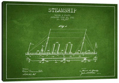 Steamship Green Patent Blueprint Canvas Art Print