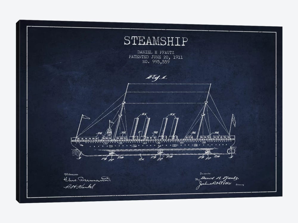 Steamship Navy Blue Patent Blueprint 1-piece Canvas Art Print
