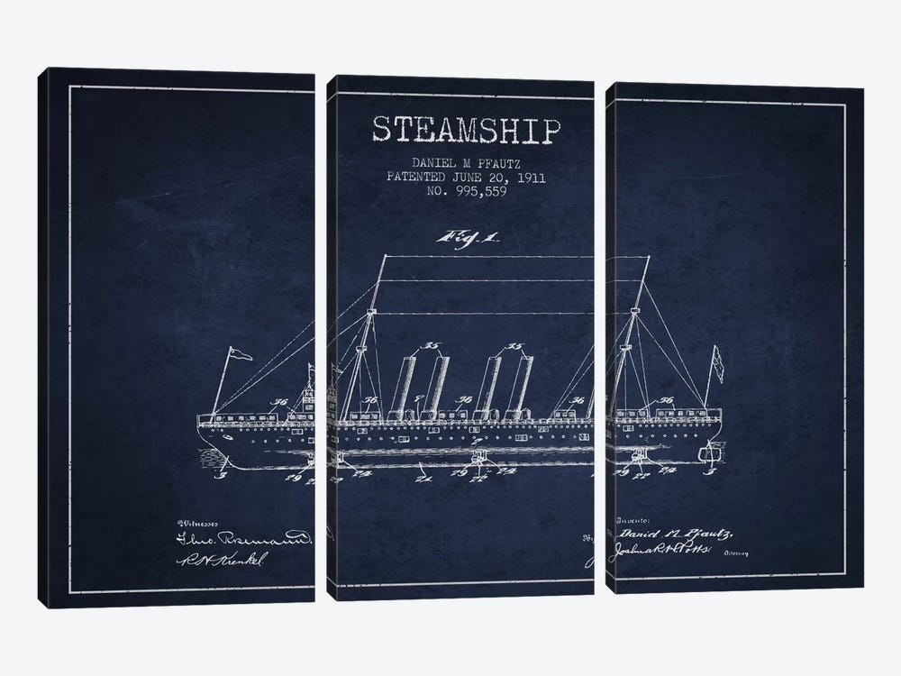 Steamship Navy Blue Patent Blueprint by Aged Pixel 3-piece Art Print
