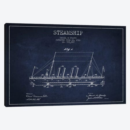 Steamship Navy Blue Patent Blueprint Canvas Print #ADP2647} by Aged Pixel Canvas Art Print