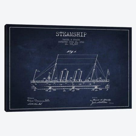 Steamship Navy Blue Patent Blueprint Canvas Print #ADP2647} by Aged Pixel Canvas Art Print