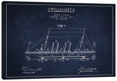Steamship Navy Blue Patent Blueprint Canvas Art Print