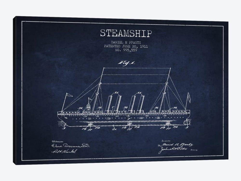 Steamship Navy Blue Patent Blueprint by Aged Pixel 1-piece Canvas Art Print