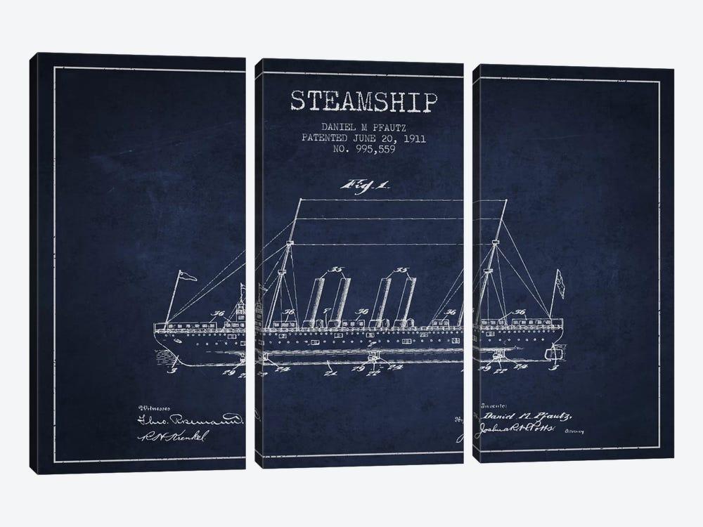 Steamship Navy Blue Patent Blueprint by Aged Pixel 3-piece Art Print