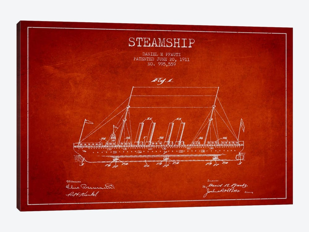 Steamship Red Patent Blueprint by Aged Pixel 1-piece Canvas Artwork