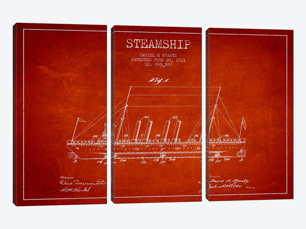 Steamship Red Patent Blueprint by Aged Pixel 3-piece Canvas Wall Art