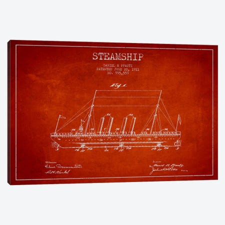 Steamship Red Patent Blueprint Canvas Print #ADP2648} by Aged Pixel Canvas Artwork