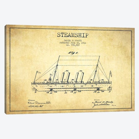 Steamship Vintage Patent Blueprint Canvas Print #ADP2649} by Aged Pixel Canvas Art
