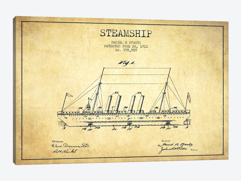 Steamship Vintage Patent Blueprint by Aged Pixel 1-piece Art Print