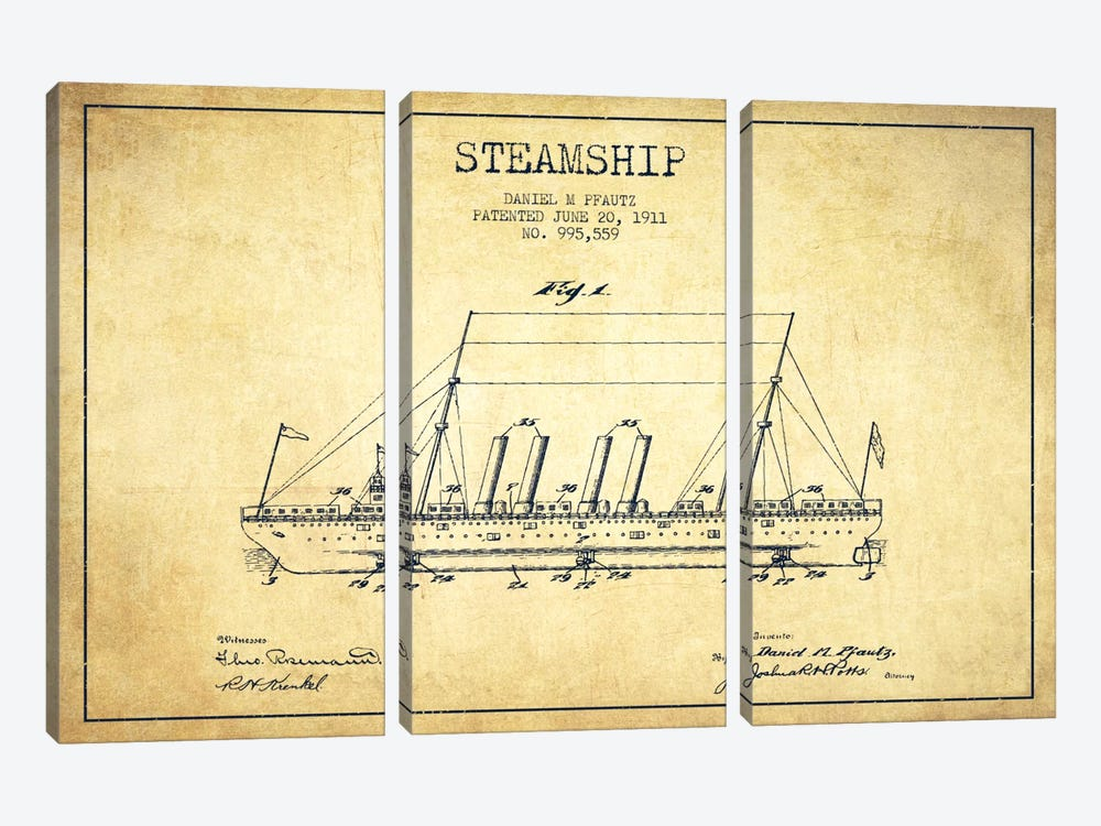 Steamship Vintage Patent Blueprint by Aged Pixel 3-piece Canvas Art Print