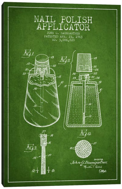 Nail Polish Applicator Green Patent Blueprint Canvas Art Print