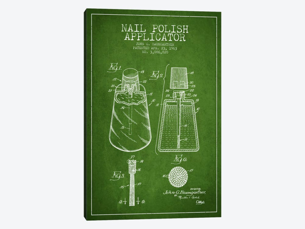 Nail Polish Applicator Green Patent Blueprint by Aged Pixel 1-piece Canvas Artwork