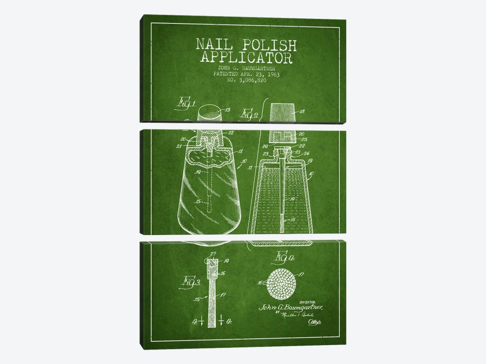 Nail Polish Applicator Green Patent Blueprint by Aged Pixel 3-piece Canvas Wall Art