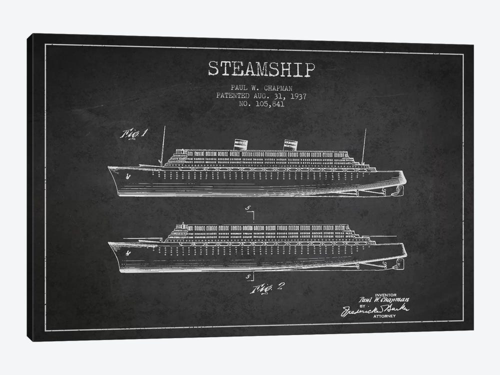 Steamship Charcoal Patent Blueprint by Aged Pixel 1-piece Art Print