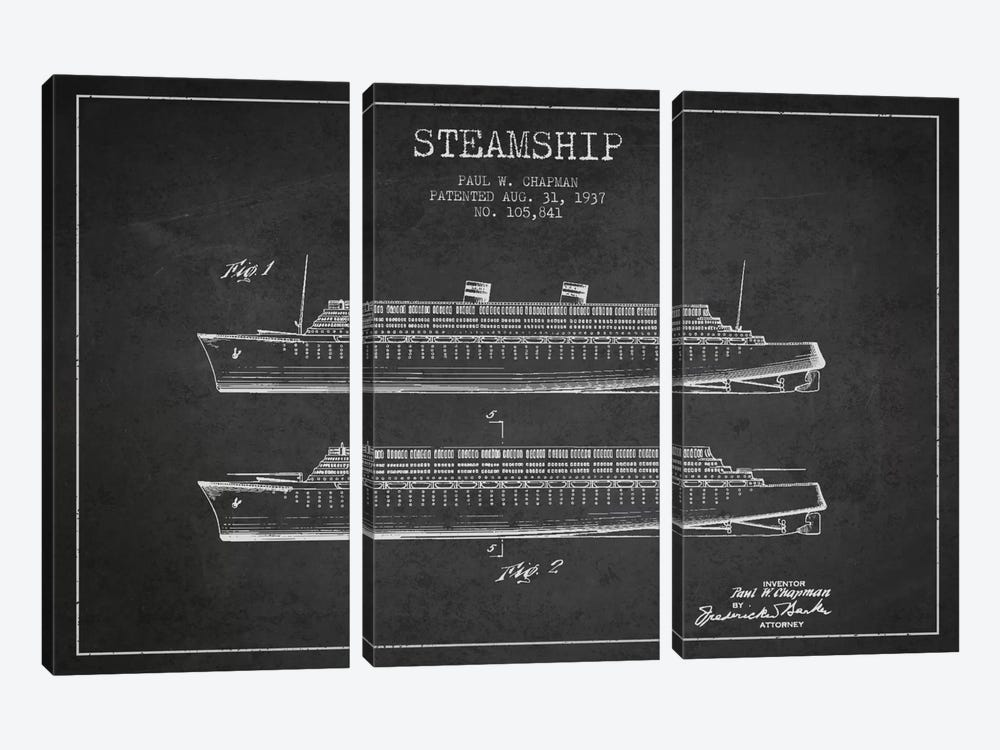 Steamship Charcoal Patent Blueprint 3-piece Canvas Art Print